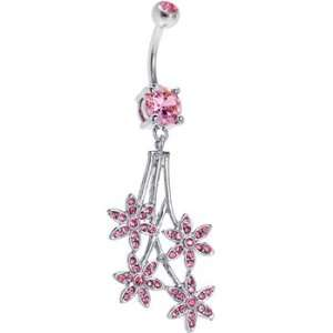 Pink Gem Paved Flowers Drop Belly Ring Jewelry