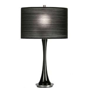 Modern Black Glass Table Lamp with Pleated Black Shade