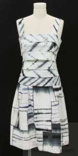 Oscar de la Renta Blue & White Tie Dye Sleeveless Tiered Dress S10