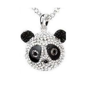 Full Crystal Diamond Panda Bear Design Pendant with Necklace/Sweater