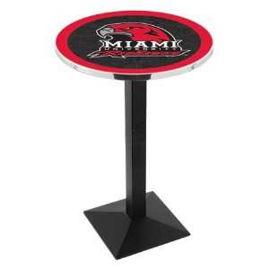42 Miami Ohio Bar Height Pub Table   Square Base   NCAA