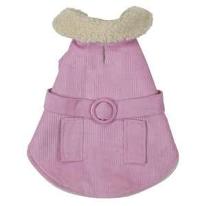 Cotton/Polyester Sherpa Corduroy Dog Coat, Teacup, Pink