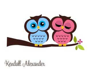 Personalized OWLS IN LOVE Note Cards Thank You Cards