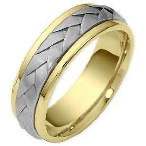 Wave Style 7mm Two Tone 18 Karat Gold Comfort Fit Wedding Band