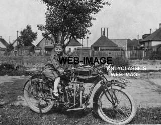 1916 INDIAN MOTORCYCLE CUTE GIRL COSTUME PHOTO IN PLATE
