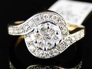 WOMENS YELLOW GOLD ROUND CUT DIAMOND ENGAGEMENT WEDDING RING 1/2 CT