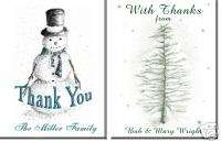 Personalized Holiday Christmas Thank You Note Cards
