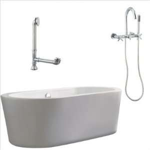 Giagni LV1 C PC Ventura 67 Apron Tub with Wall Mount Faucet and Cross