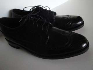FLORSHEIM Wing Tip Shoes 10 NOS Black Leather Dress Loafers Longwing