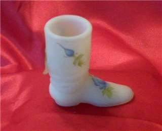 FENTON CUSTARD TOOTHPICK BOOT   Vintage   Hand Painted Signed Original