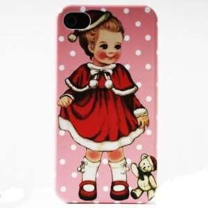 Pink Dot Xmas Bear Painting Vintage Pinup Girl iPhone 4/4S