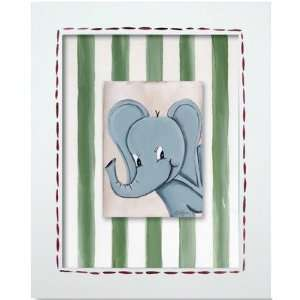 Safari Elephant Framed Giclee Wall Art Color Blue