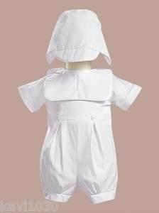Zach Boys CHRISTENING Baptism Cotton Outfit w/Bib & Hat