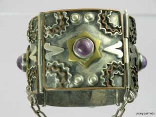 MEXICAN STERLING SILVER AMETHYST METALES APPLIQUE WIDE PANEL BRACELET