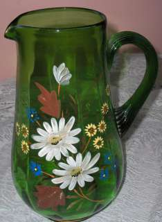 Vintage Green Hand Blown Glass Painted Flowers Pitcher /Glass