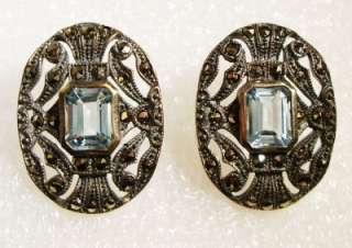 ART DECO Sterling Marcasite BLUE TOPAZ Oval Earrings