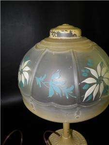 ART DECO PAINTED METAL LAMP HAND PAINTED GLASS SHADE