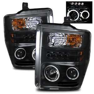 08 11 Ford Super Duty Black CCFL Halo Projector Headlights