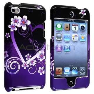 Deluxe Purple Heart Hard Snap on Cover Case for iPod Touch 4 4G 4th