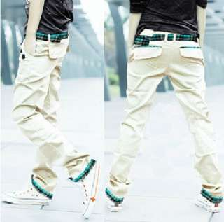Mens Korean Style Slim Fit Casual Straight leg Long Pants