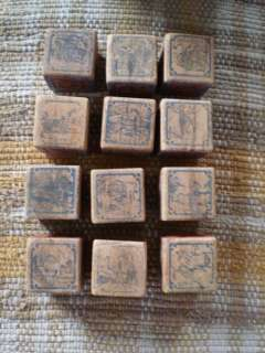12 Early 1900s Antique Wood Alphabet Toy Blocks Pics Moose Fire Engine
