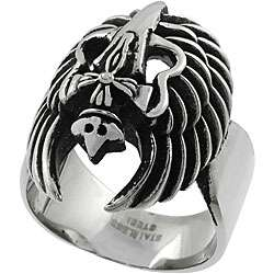 Stainless Steel Skull Cross and Wings Mens Ring
