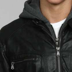 Calvin Klein Mens Faux Leather Hooded Jacket