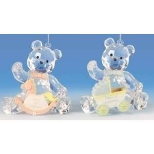 Crystal Babys First Christmas Teddy Bear Ornaments
