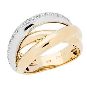 0.16 Carat 18kt Two Tone Gold Diamond Ring Jewelry