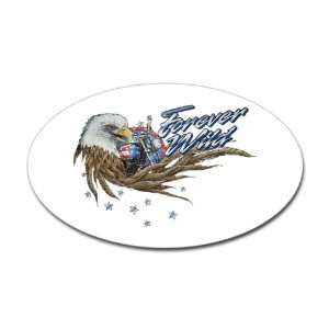 Sticker (Oval) Forever Wild Eagle Motorcycle and US Flag
