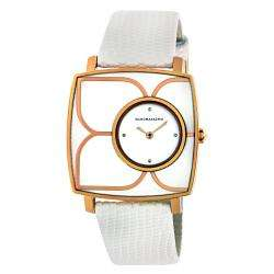 BCBG Maxazria Womens Icon Voyage Flower detail Leather Strap Watch