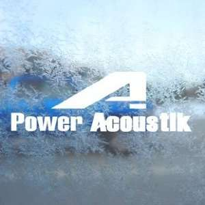Power Acoustik Stereo Logo Audio White Decal Car White