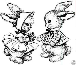 Bunny friends rubber stamp 3x2.5 UM Victorian style
