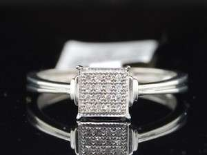 LADIES WHITE GOLD FINISH PAVE DIAMOND ENGAGEMENT RING