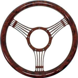 14 Billet Aluminum Steering Wheel w/ Wood Grain Design