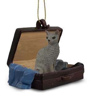 Blue Cornish Rex Traveling Companion Cat Ornament