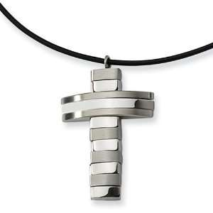 Stainless Steel Leather Cord Cross Necklace Vishal Jewelry Jewelry