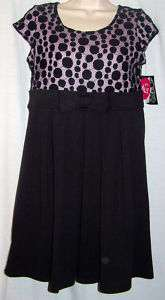 NWT Disorderly Kids Girls Plus Black Lace Dress 12 & 14