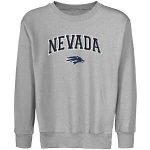 Nevada Wolf Pack Youth Ash Logo Arch Applique Crew Neck Fleece