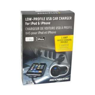 Black OEM Scosche powerPLUG Pro Low Profile USB Car Charger For iPhone