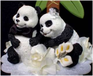 Playful Panda Bear Wedding Cake Topper Palm Tree Top