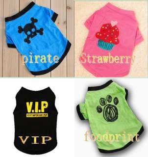 Cute Small Pet Dog Clothes T Shirt shirts Type size XS M L Free