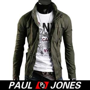 PJ Men's Stylish Slim Fit Jackets Coats Sexy Rider Zip/button Hoody