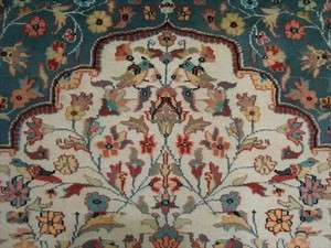 PEACE BIRDS JUNGLE HAND KNOTTED RUG CARPET SILK WOOL 9x