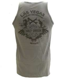 Harley Davidson Las Vegas Dealer Tank Top Tee T Shirt GRAY LARGE