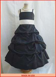 NEW BLACK IVORY JUNIOR BRIDESMAID FLOWER GIRL DRESSES