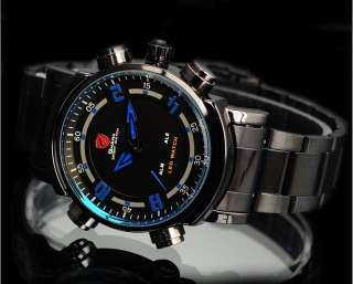 SHARK LED Digital Date Day Alarm Analog Steel Men Quartz Watch Army