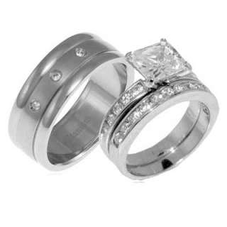 Mens Womens Titanium Silver 925 CZ Engagement Wedding 3 Pcs Ring Set