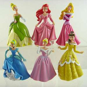 Of 6 Disney Princess Cinderella Belle Ariel Aurora 3.5 Action Figures