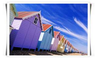 BEACH SEASIDE HUTS ART CANVAS MODERN COAST LANDSCAPE